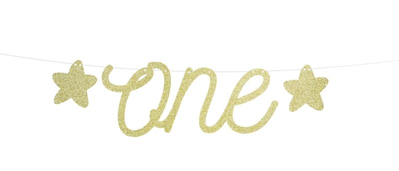 "Gold Sparkly ""one"" Garland"