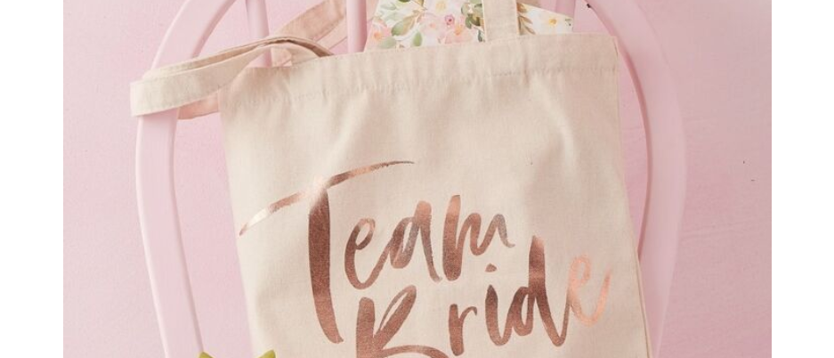 hen party tote bag, goody bag for a hen party, team bride, rose gold hen party