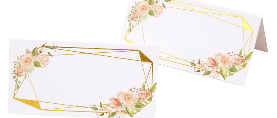Floral And Gold Place Cards