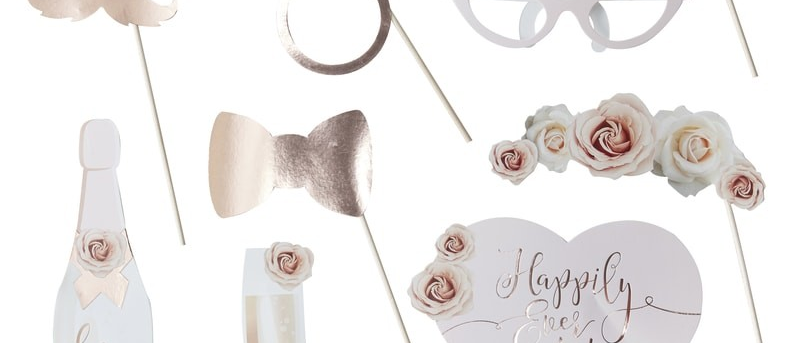 Wedding Day Rose Gold Photo Booth Props
