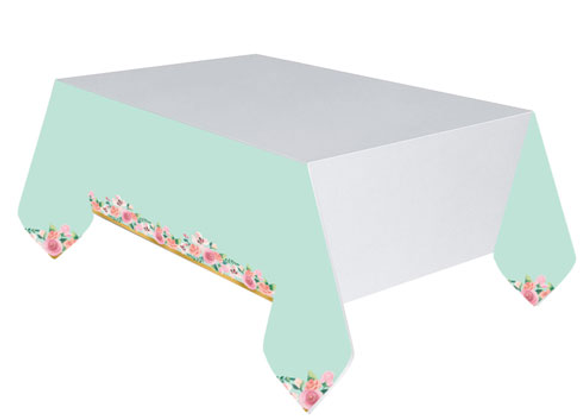 Floral And Mint Paper Table Cover