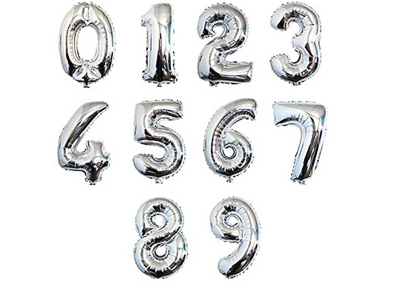 Balloon Numbers -Silver 16""