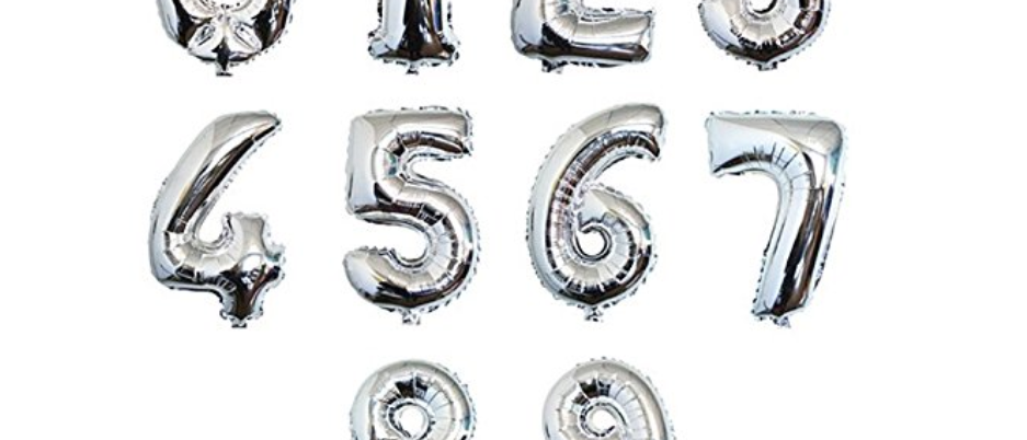 """Balloon Numbers -Silver 16"""""""