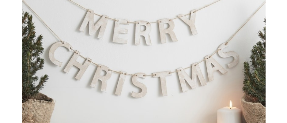 Wooden Merry Christmas Garland