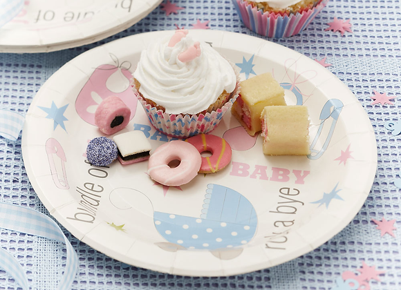 Tiny Feet Pink & Blue Plates