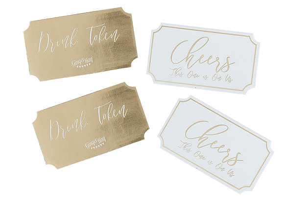 Gold Wedding Drinks Tokens