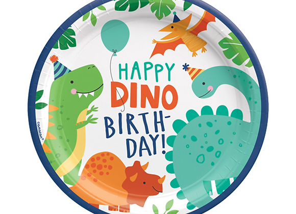 dino themed partyware, children's dinosaur party theme, dinosaur party plates, paper plates for a dinosaur party