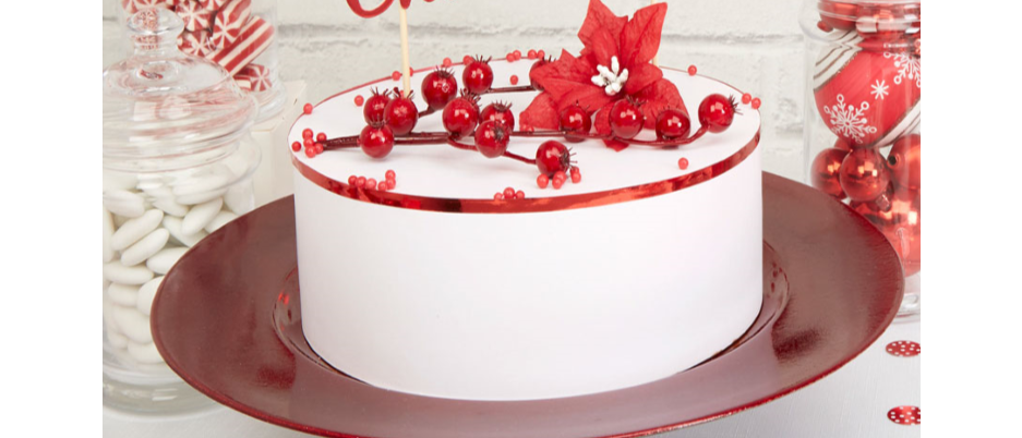 Red Merry Christmas Cake Topper