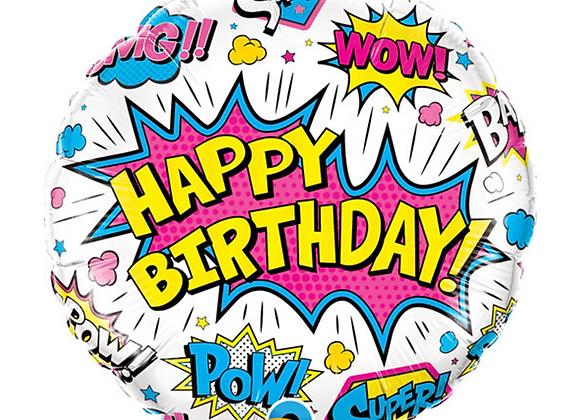 "Super Hero Happy Birthday 18"" Foil Balloon"