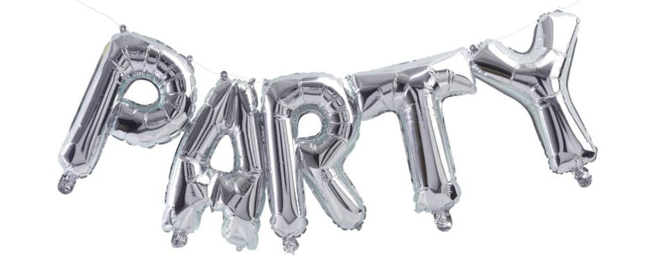 Silver PARTY Balloon Garland