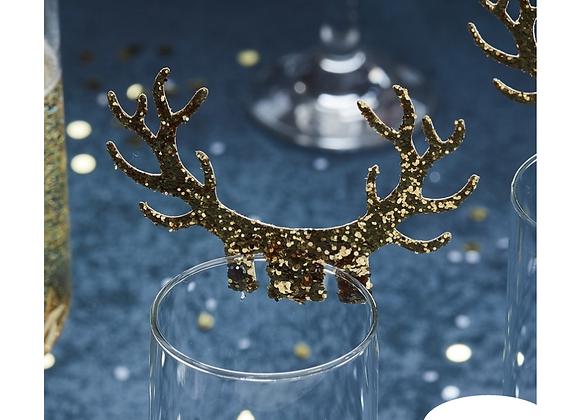 Gold Glitter Antler Glass Decorations