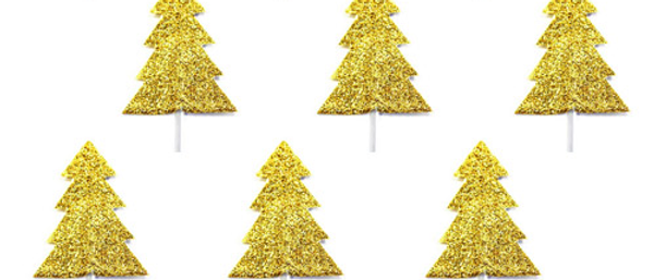 Gold Glitter Christmas Tree Cake Toppers