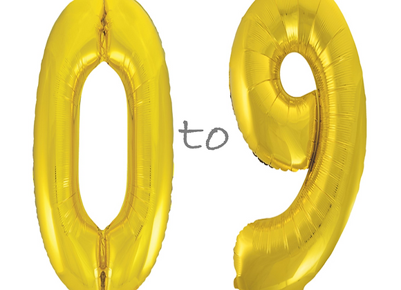 """Large Gold Number Balloons - 34"""""""