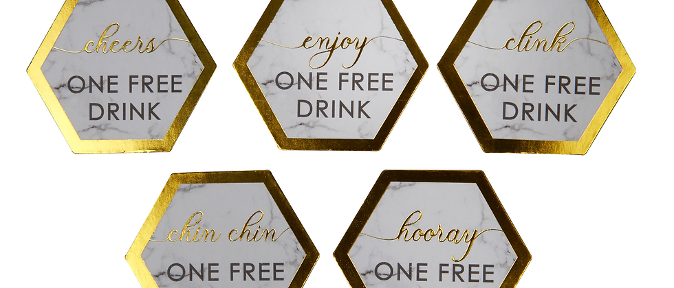 Gold Marbled Wedding Guest Drink Tokens