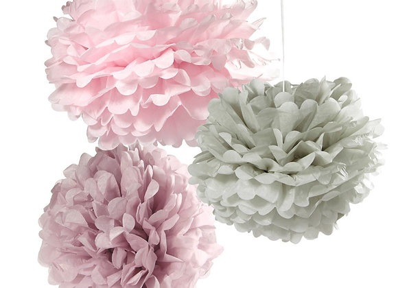 Pink And Grey Poms Poms