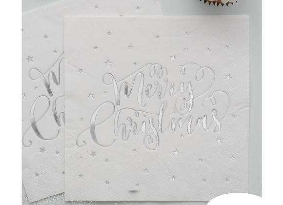 Silver Foil Merry Christmas Napkins x 20