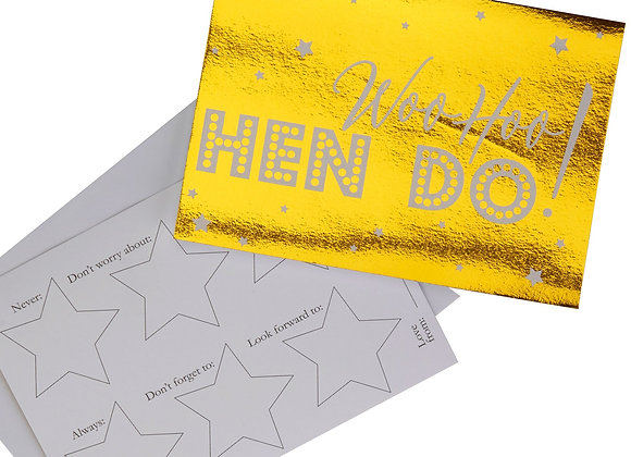 WooHoo Hen Do - Gold Advice Cards