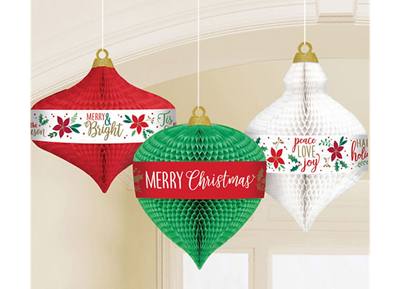 Christmas honeycomb decorations, red and green Christmas decorations, retro look Christmas decorations