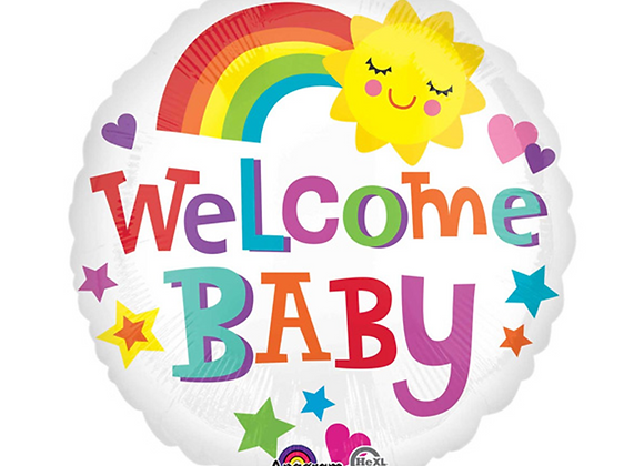 "Inflated Welcome Baby Rainbow 18"" Balloon"