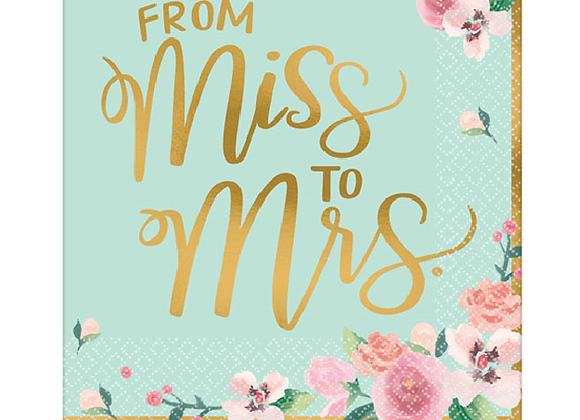 From Miss To Mrs Floral Hen Party Napkins
