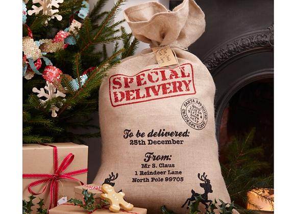 Christmas santa sack, Christmas sack to fill, rustic look santa sack, Children's Christmas stocking