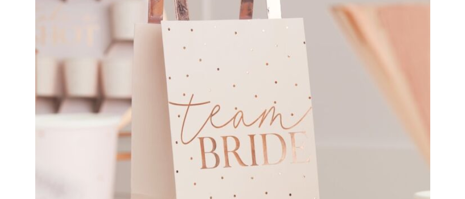 hen party goody bags, goody bags for a hen party, team bride blush Ginger Ray