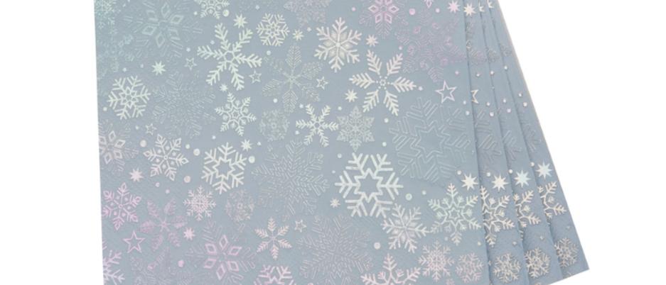 Silver Snowflake Napkins x 16