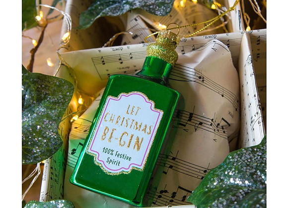 Green Let Christmas Be-Gin Bottle Shaped Bauble