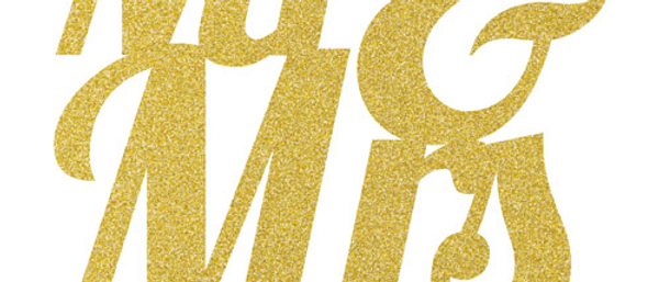 Gold Glitter Mr & Mrs Wedding Cake Topper