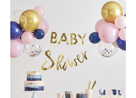 baby shower garland, baby shower and balloons garland, decoration for a gender reveal party, gender reveal decorations