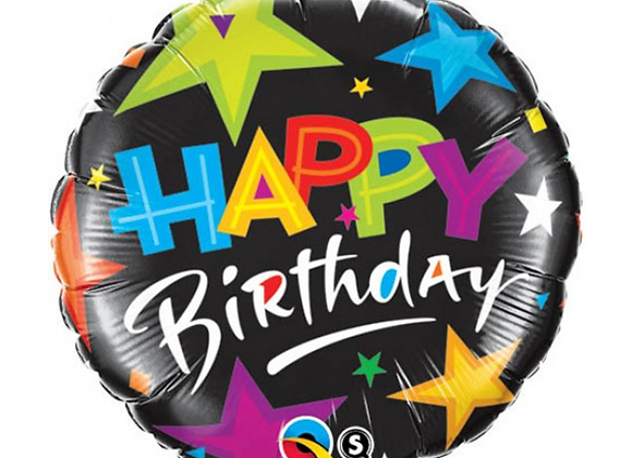 """Inflated Happy Birthday Stars Foil 18"""" Balloon"""