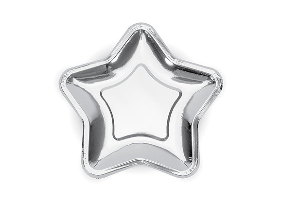 Large Silver Star Plates - 23 CM (x 6)