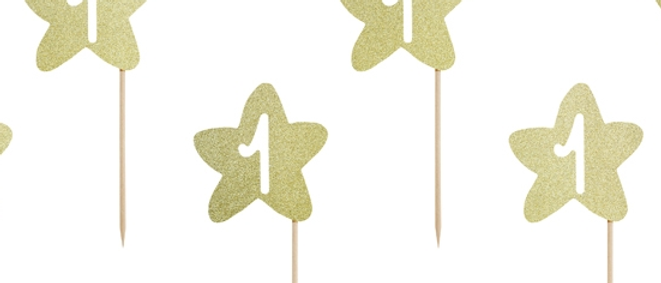 Gold Sparkly Cupcake Toppers