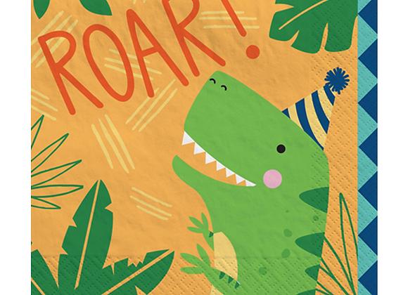 dinosaur party napkins, napkins for a dinosaur party, children's dinosaur party tableware, tableware for a dino party