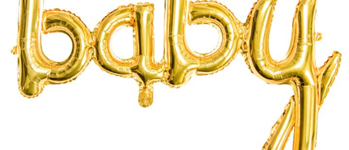 Gold Baby Script Balloon