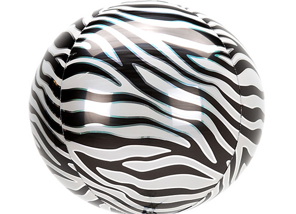 "Inflated Zebra 16"" Orbz Balloon"