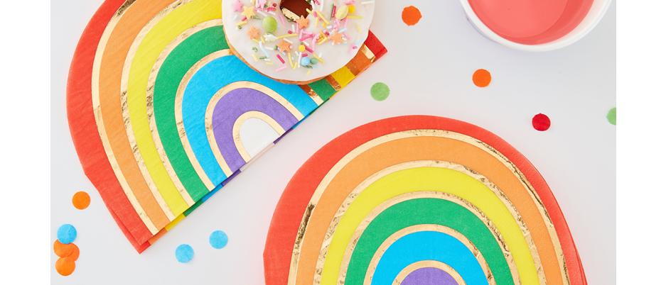 rainbow party theme napkins, napkins for  rainbow party, rainbow napkins, Ginger Ray over the rainbow theme