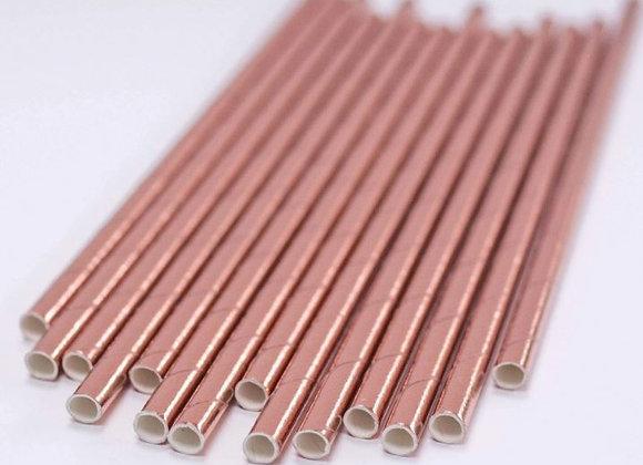Rose Gold Shiny Paper Straws (x 10)