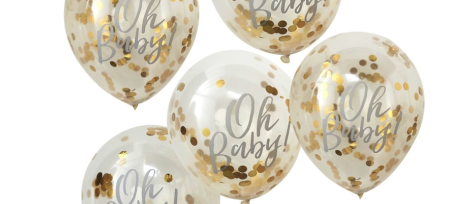 Oh Baby Gold Confetti Balloons x 5