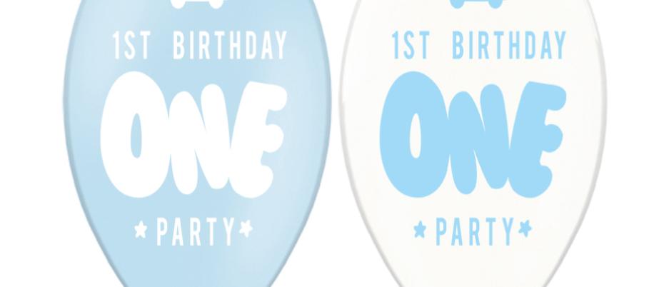 First Birthday Balloons x 6