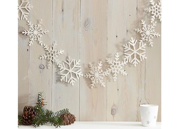 White Glitter Snowflake Garland