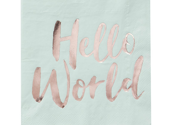 Hello World Napkins Rose Gold And Mint