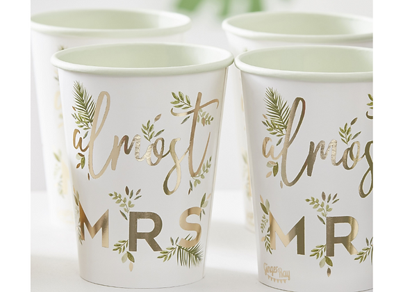 Almost Mrs Hen Party Cups (x 8)