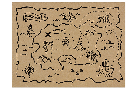 Pirate Map Placemats x 6