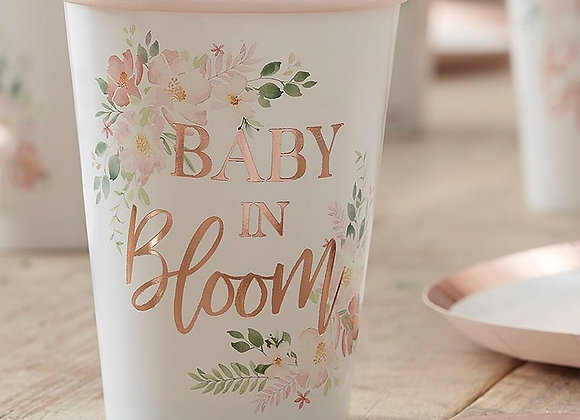 baby in bloom cups, baby shower cups, floral baby shower