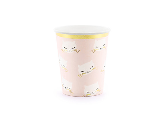 Pink Kitty Paper Cups x 6