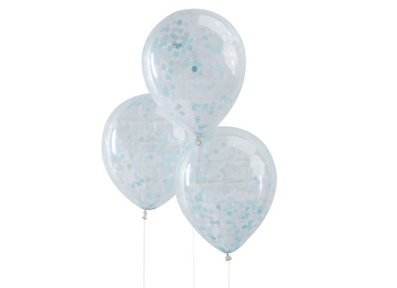 Blue Confetti Filled Balloons x 5