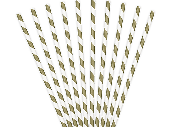 Gold And White Striped Paper Straws x 10