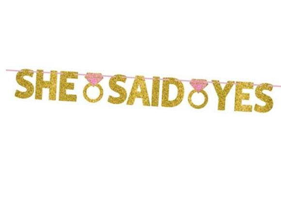 She Said Yes Gold Glitter Garland