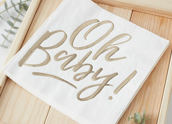 gold baby shower, baby shower tableware, oh baby, ginger ray oh baby range, gold baby shower tableware, baby shower napkins